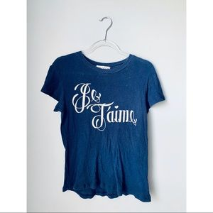 Wildfox Je T'aime graphic burnout tee small